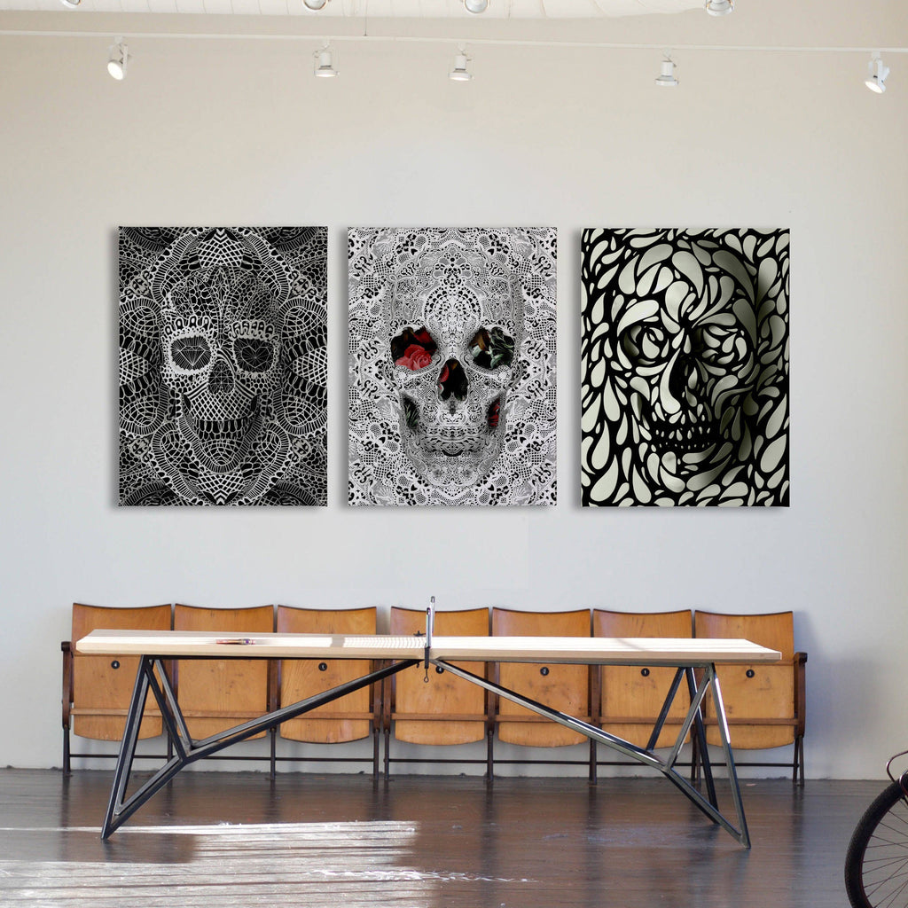 Set of 3 Skull Canvas Print, Black And White Skull Set Wall Art, Sugar Skull 3 Piece Canvas Home Decor