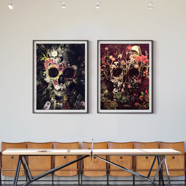 Set Of 2 Skull Print, Sugar Skull Art Print Home Decor Botanical Dark Flower Skull Wall Art Gift