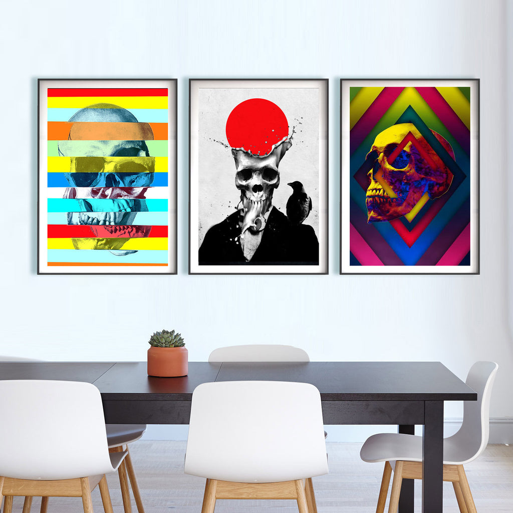 Set Of 3 Skull Print, Skull Set Home Decor, Abstract Skull Decor