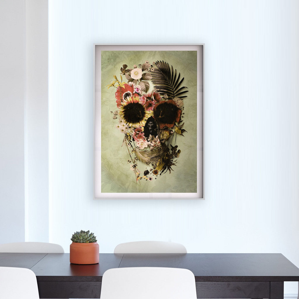 Garden Skull Poster, Floral Skull Print Home Decor, Flower Skull Wall Art