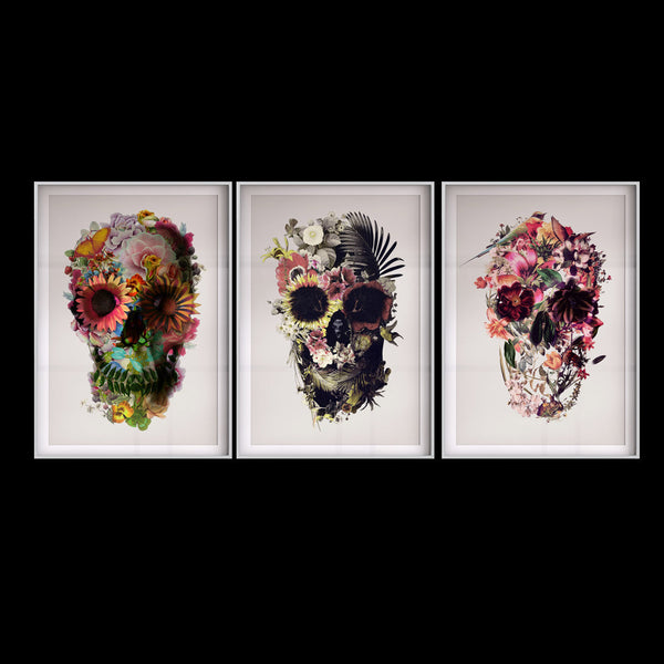 Set Of 3 Skull Art Print, Flower Sugar Skull Poster Set Home Decor, Floral Skull Wall Art Gift Poster Set