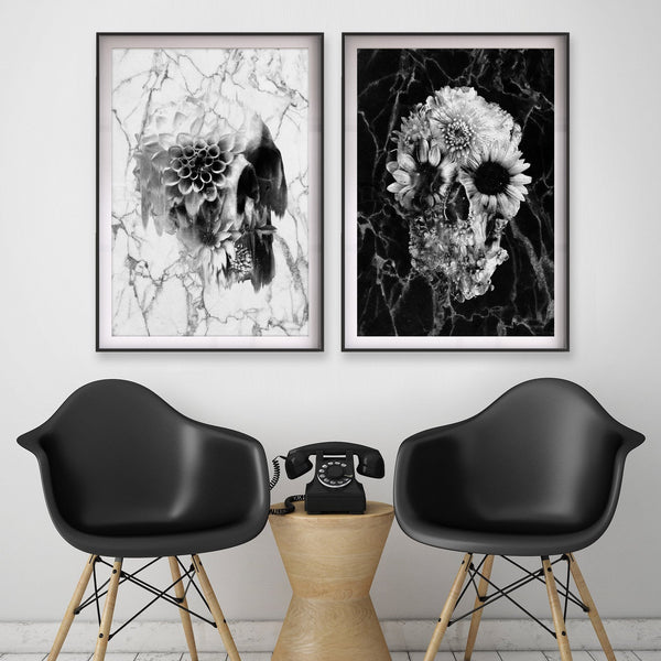 Set Of 2 Marble Skull Poster, Black And White Flower Skull Art Print Set, Sugar Skull Art Home Decor Gift