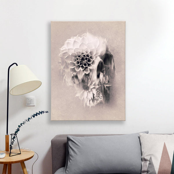 Floral Skull Canvas Wall Art Print, Sugar Skull Stretched Canvas Art Home Decor, Flower Skull Art Wall Decor Gift