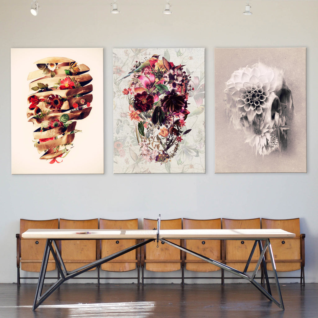 Skull Set Of 3 Canvas Art Print, Flower Skull Art Canvas Print Set Home Decor, Gothic Floral Sugar Skull Wall Art Print
