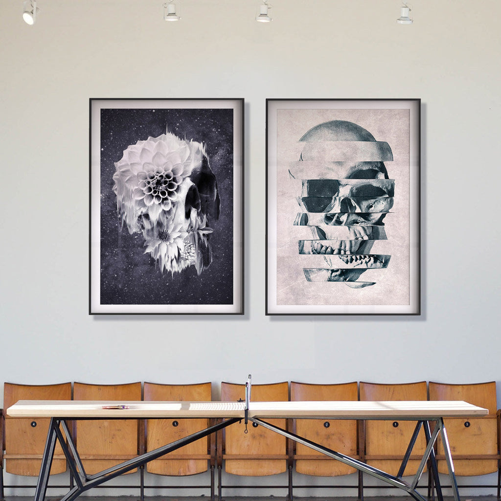 Black And White Skull Poster Set, Flower Skull Art Print Set Of 2, Botanical Sugar Skull Home Decor Wall Art Gift