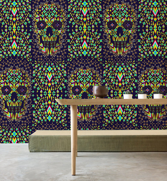 Geometric Skull Wallpaper Home Decor, Skull Art Print Traditional Wallpaper, Colorful Pattern Sugar Skull Wall Mural