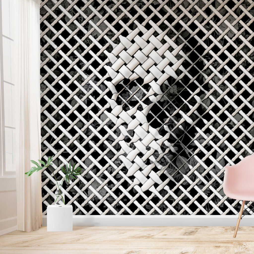 Wicker Skull Wallpaper Home Decor, 3D Effect Black And White Skull Art Traditional Wallpaper