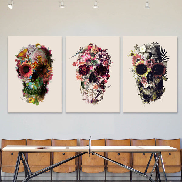 Flower Skull Set Of 3 Canvas Print, Light Skull Art Canvas Print Set Home Decor, Sugar Skull Wall Art Print Decor Gift