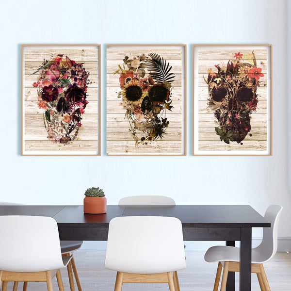 Set Of 3 Skull Art Prints, Wood Texture Background Skull Set Home Decor, Floral Rustic Skull Poster Set