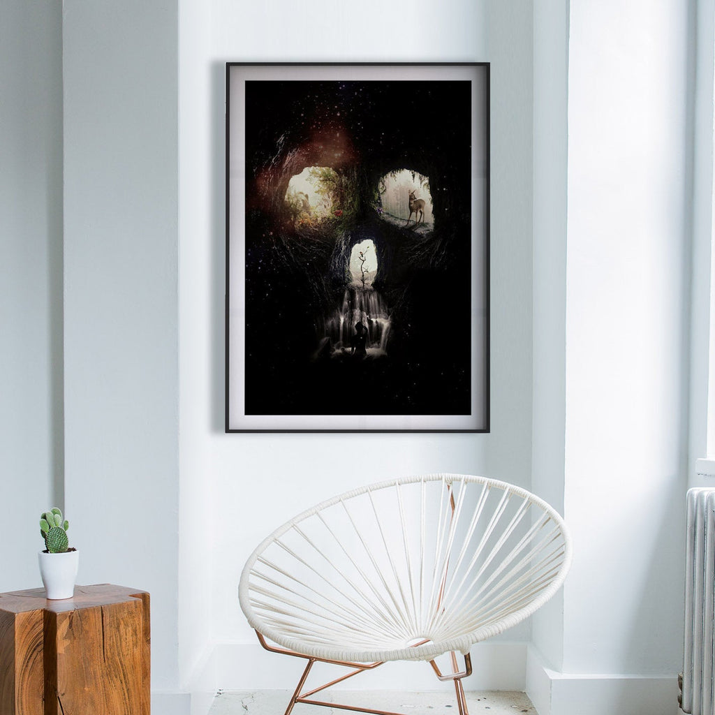 Skull Poster, Cave Skull Wall Art Gift, Sugar Skull Home Decor