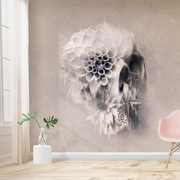 Flower Skull Wallpaper Home Decor, Light Floral Skull Art Print Traditional Wallpaper