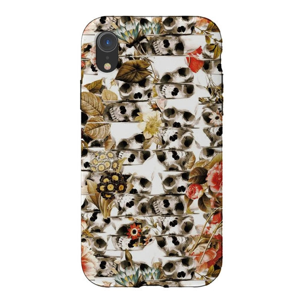 Autumn Skull Phone Case, Floral Skull iPhone Case, Flower Skull Samsung Case
