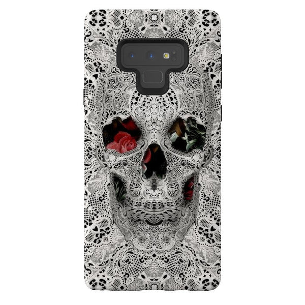 Lace Skull Phone Case, Lace Pattern Skull iPhone Case, Floral Samsung Case
