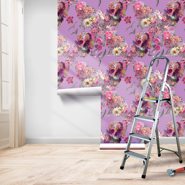 Boho Skull Wallpaper Home Decor, Flower Skull Art Print Traditional Wallpaper
