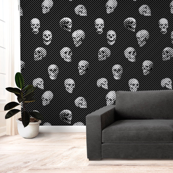 Gothic Skull Wallpaper Home Decor, Black And White Skull Art Print Traditional Wallpaper