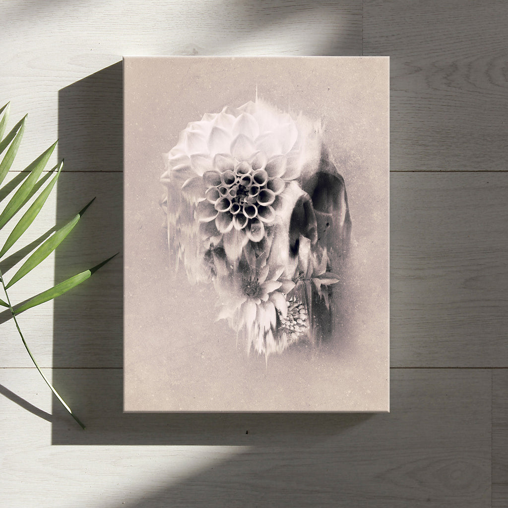 Boho Skull Canvas Print, Light Floral Skull Wall Art, Sugar Skull Canvas Art Home Decor