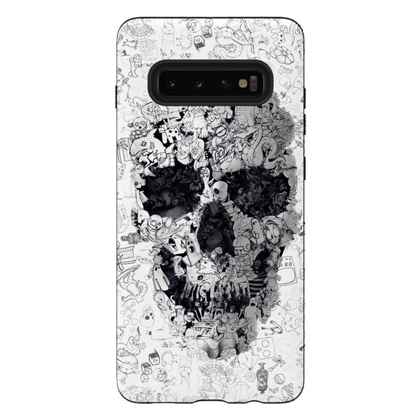 Doodle Skull iPhone12 Case, Black And White Skull iPhone Case, Skull Samsung Case, Sugar Skull Phone Case Gift, iPhone & Samsung Skull Case