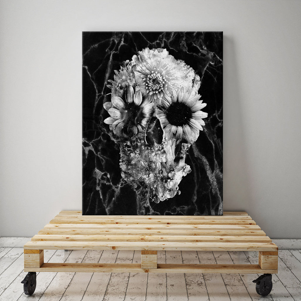 Marble Skull Canvas Art Print, Black Skull Canvas Print, Gothic Skull Canvas Art Home Decor Gift