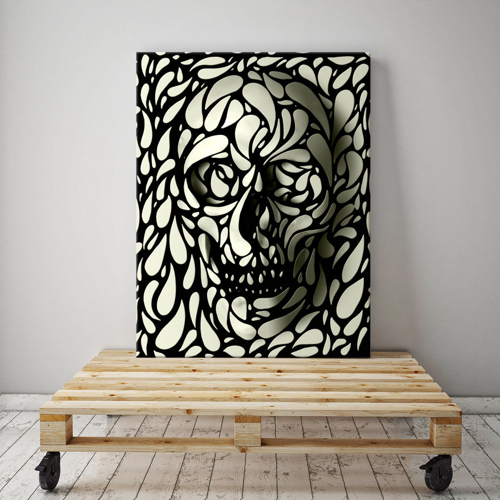 Skull Pattern Canvas Print, Black And White Skull Canvas Art Print, Gothic Sugar Skull Canvas Art Home Decor Gift