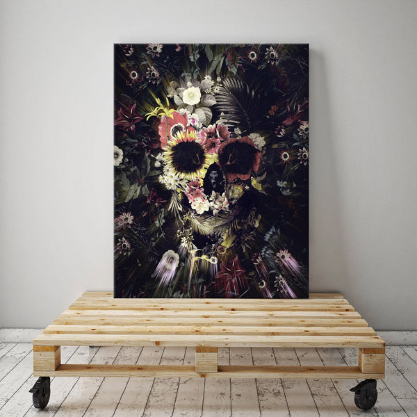 Garden Skull Canvas Print, Flower Skull Canvas Art Print, Boho Skull Canvas Art Home Decor Gift
