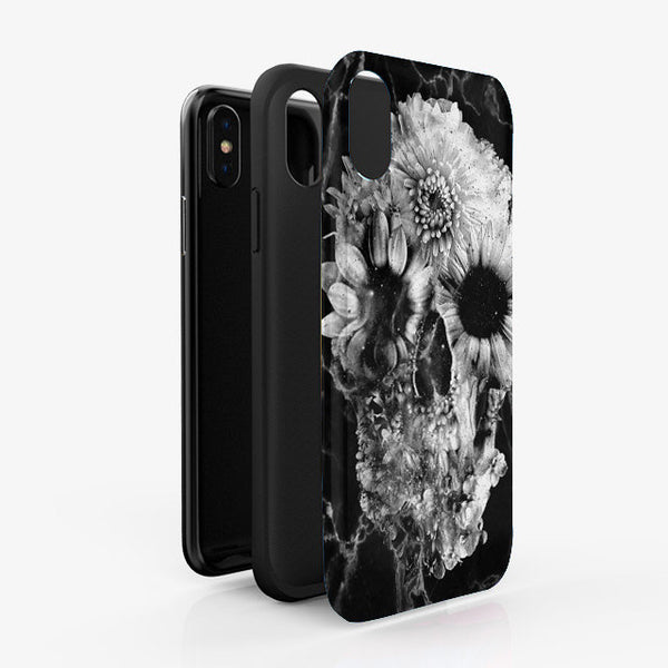 Floral Skull iPhone12 Case, Marble Skull iPhone Case, Flower Skull Samsung Case, Sugar Skull Phone Case Gift, Skull Case For iPhone Samsung