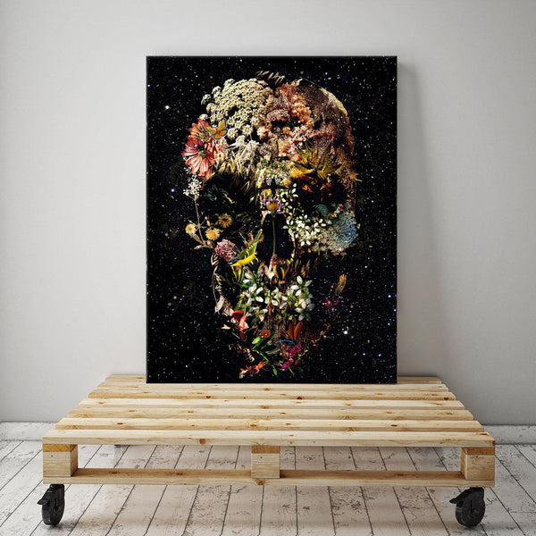 Flower Skull Canvas Print, Floral Skull Canvas Art Print Home Decor, Boho Skull Canvas Wall Art Gift