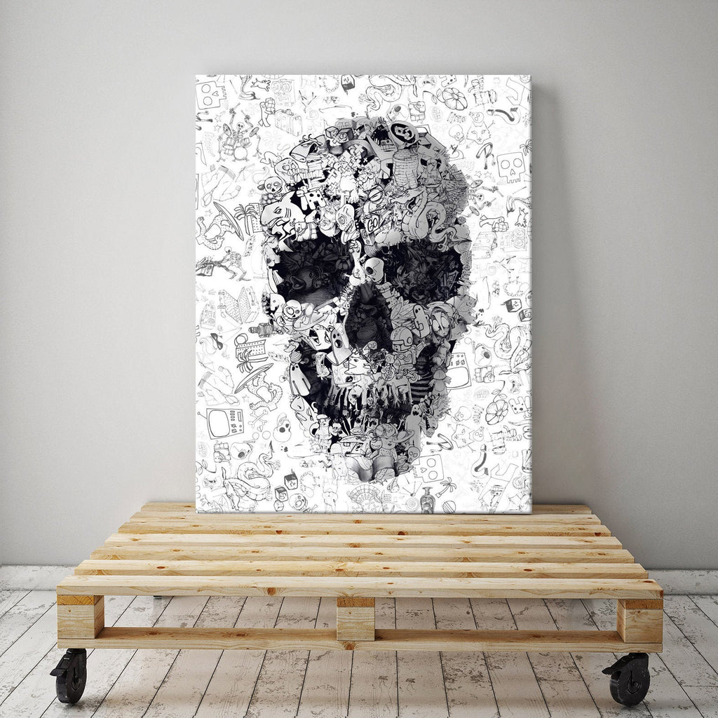 Doodle Skull Canvas Print, Black And White Skull Art, Canvas Art Home Decor