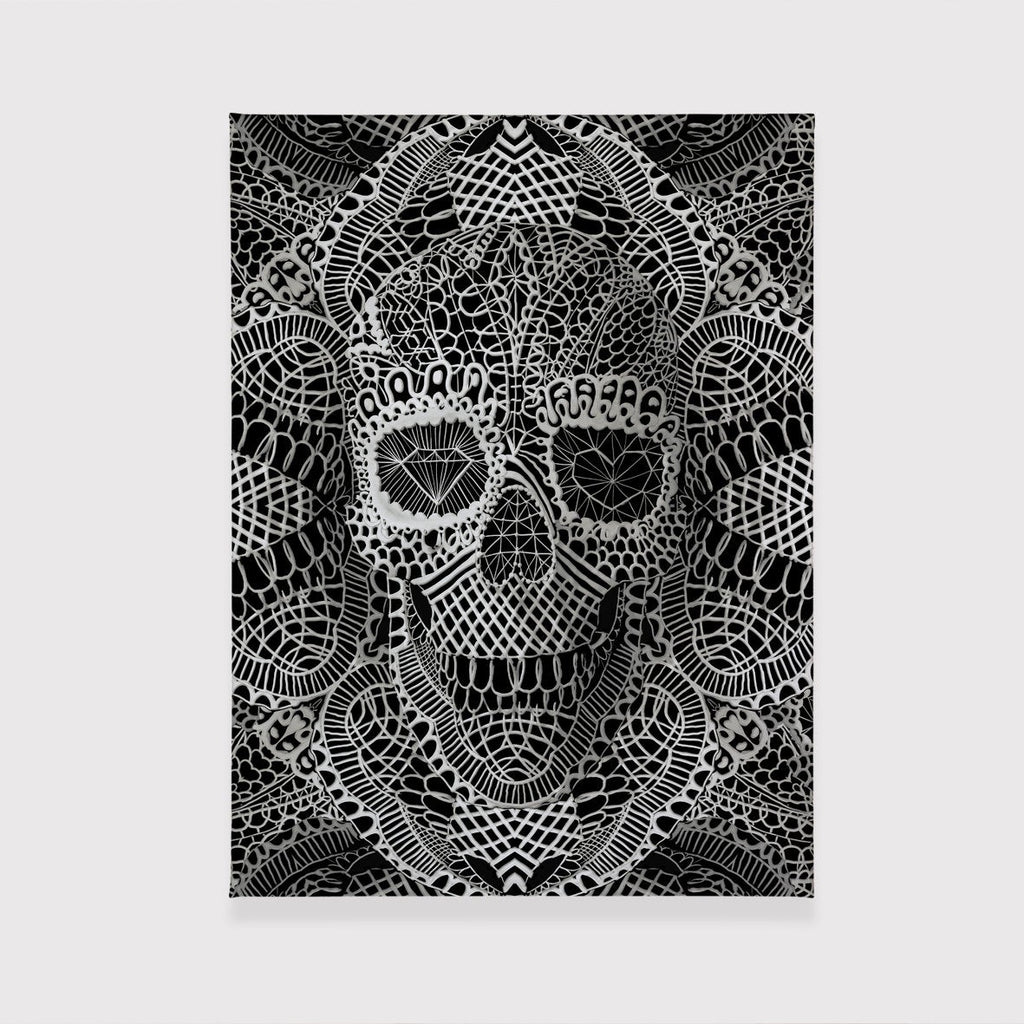 Lace Skull Canvas Art Print, Gothic Skull Canvas Print, Lace Pattern Canvas Art Home Decor Gift