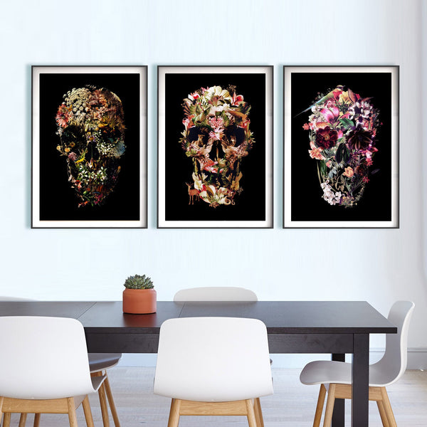 Set Of 3 Skull Art Print, Matching Dark Skull Set Home Decor, Flower Skull Poster Set