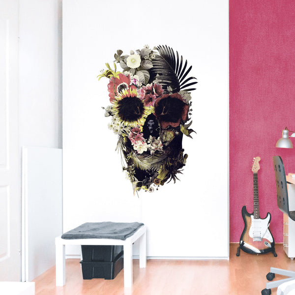 Garden Skull Wall Decal, Floral Skull Art Wall Sticker, Sugar Skull Wall Art Home Decor