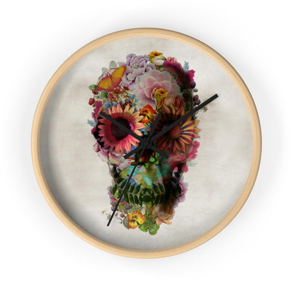 Skull Wall Clock Home Decor, Floral Skull Wall Clock Gift, Boho Skull Gothic Wall Decor