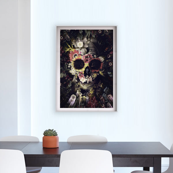 Set Of 3 Flower Skull Print, Boho Skull Set Home Decor, Gothic Skull Poster Set