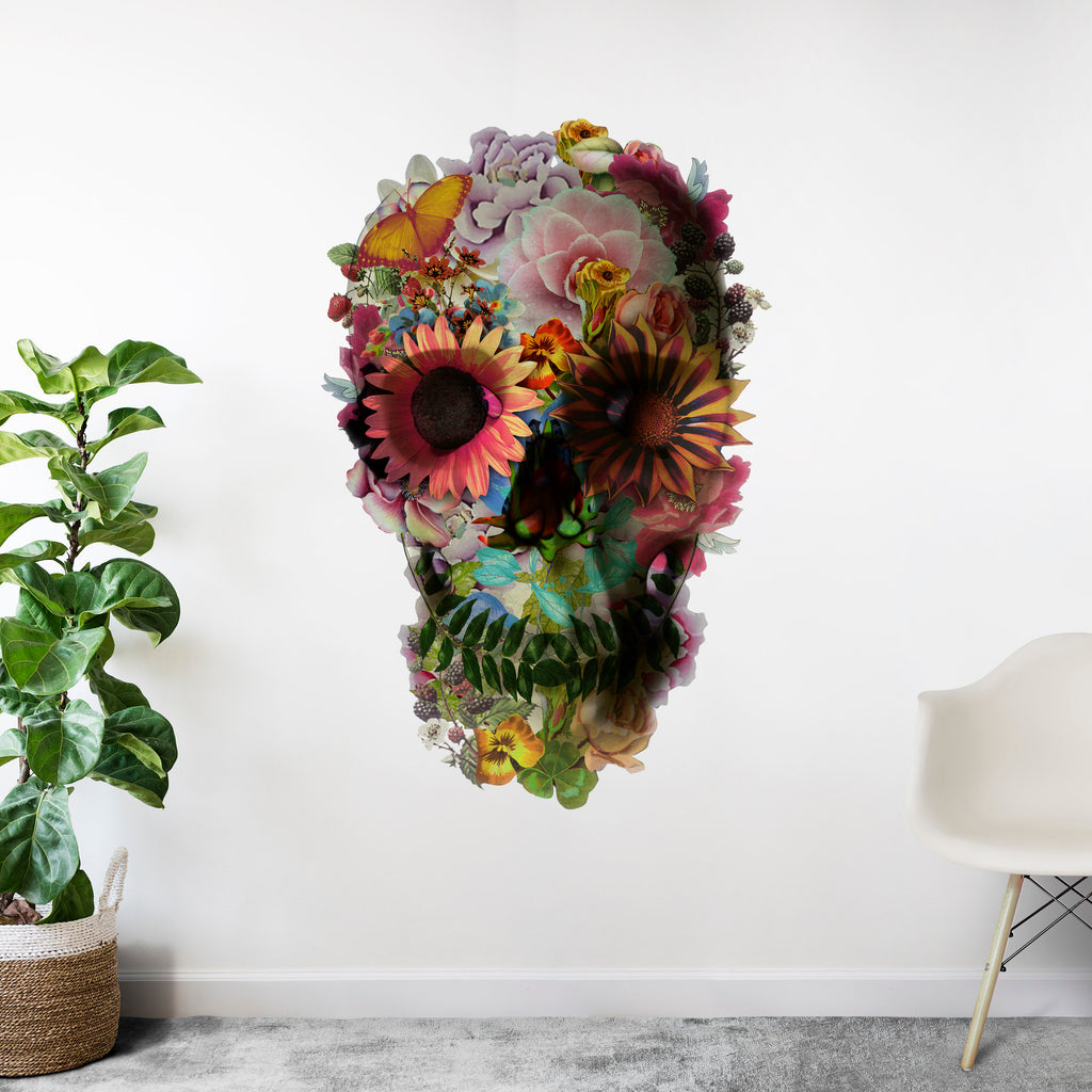 Skull Wall Decal, Floral Skull Wall Sticker, Sugar Skull Art Home Decor