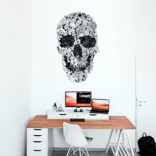 Skull Wall Decal, Skull Drawing Wall Sticker, Black And White Sugar Skull Wall Art Home Decor