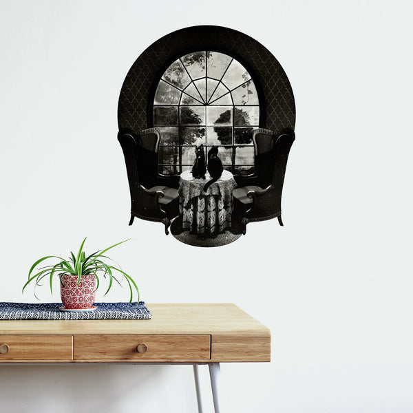 Room Skull Wall Decal, Skull Art Wall Sticker, Vinyl Wall Decal Sugar Skull Home Decor