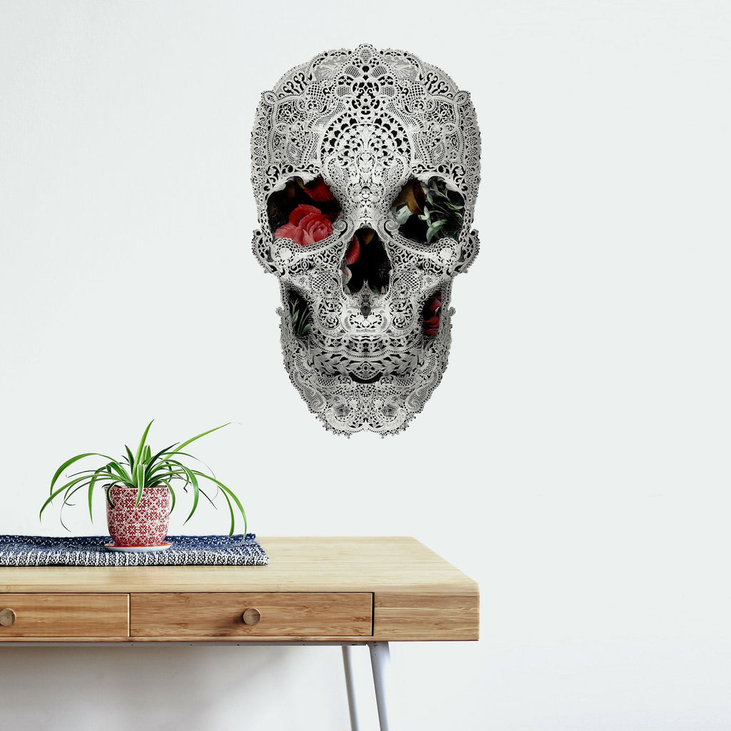 Lace Wall Decal, Lace Skull Drawing Wall Sticker, Black And White Sugar Skull Wall Art Home Decor