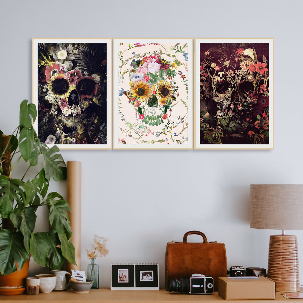 Set Of 3 Skull Poster, Boho Flower Skull Set Home Decor, Floral Sugar Skull Wall Art Print Set