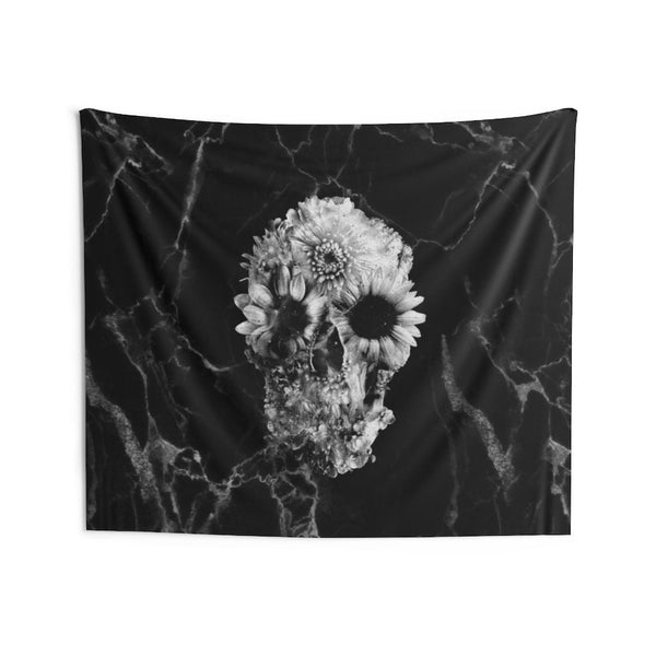 Flower Wall Tapestry, Sugar Skull Wall Art Gift, Boho Flower Skull Home Decor