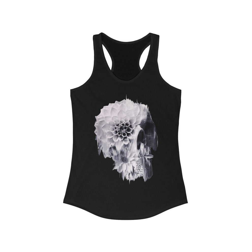 Flower Skull Women's Tank Top, Womens Racerback Sugar Skull Tank Top