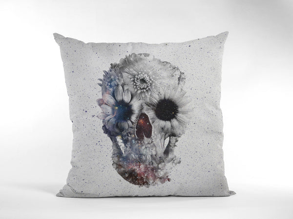 Floral Skull Throw Pillow, Boho Skull Spun Polyester Square Pillow, Gothic Sugar Skull Home Decor