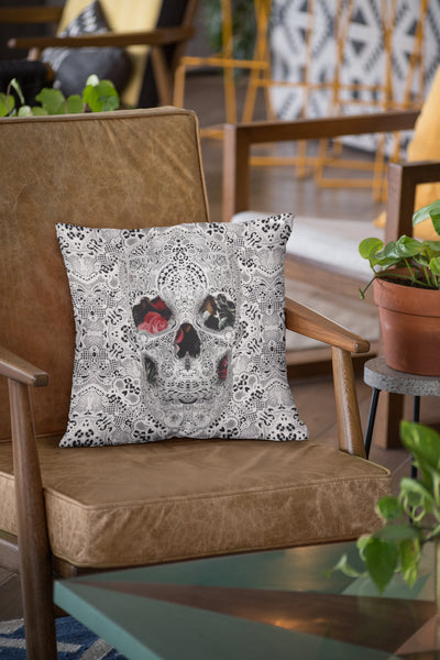 Lace Skull Throw Pillow, Sugar Skull Spun Polyester Square Pillow, Gothic Flower Skull Home Decor