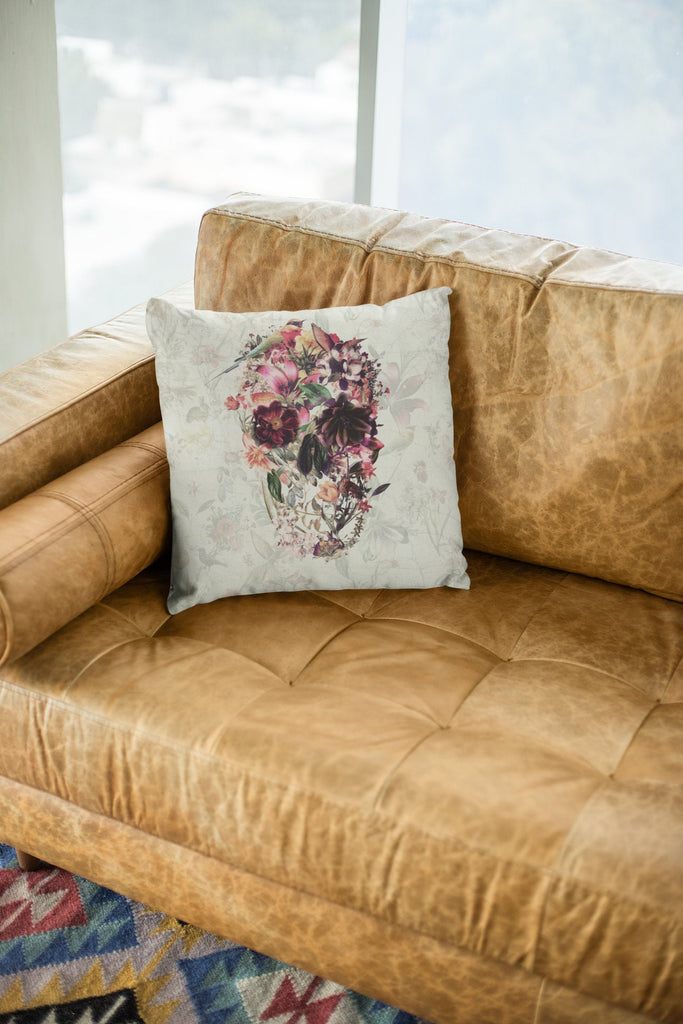 Boho Skull Throw Pillow, Floral Skull Spun Polyester Square Pillow, Gothic Sugar Skull Home Decor