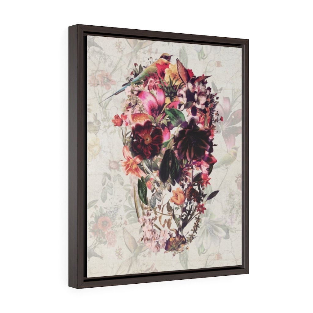 Skull Framed Canvas Art, Floral Skull Framed Premium Gallery Wrap Canvas