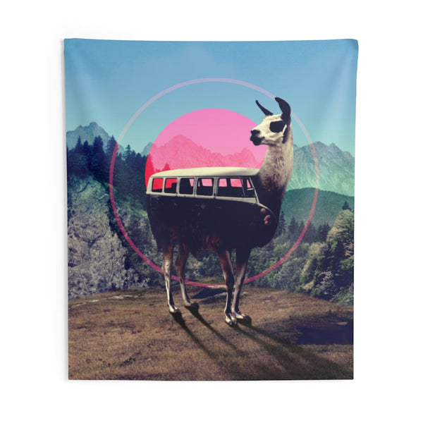 Llama Wall Tapestry, Funny Animal Wall Art Gift, Llama Van Home Decor Gift
