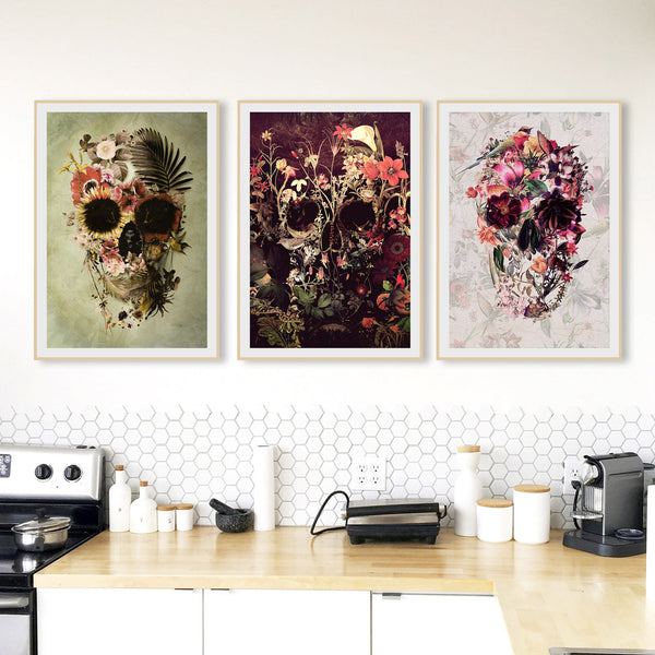Set Of 3 Flower Skull, Nature Skull Set Home Decor, Gothic Skull Poster Set