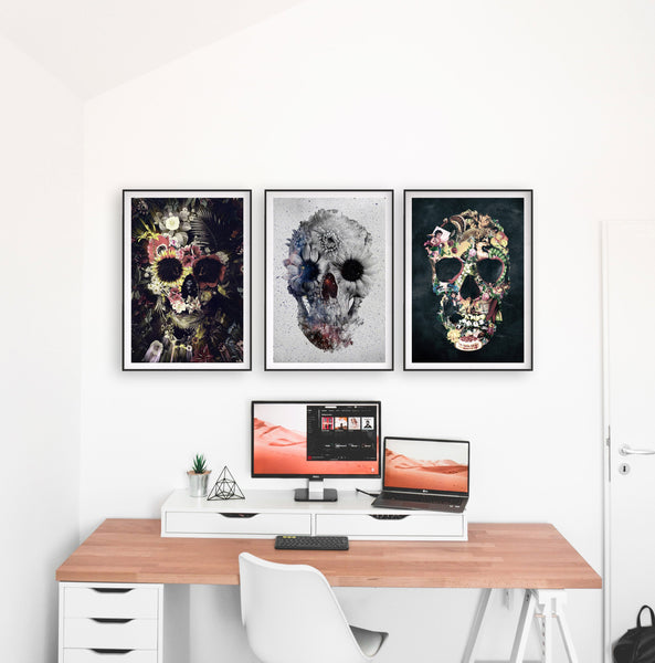 Set Of 3 Gothic Skull, Floral Sugar Skull Set Home Decor, Flower Skull Poster Set
