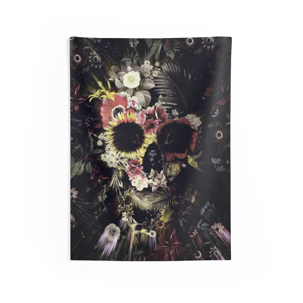 Flower Skull Wall Tapestry, Sugar Skull Wall Art Gift, Boho Skull Home Decor