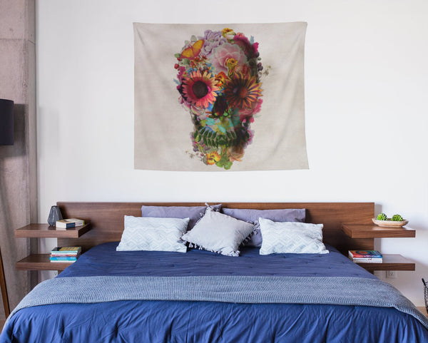 Floral Wall Tapestry, Sugar Skull Wall Art Gift, Boho Flower Skull Home Decor