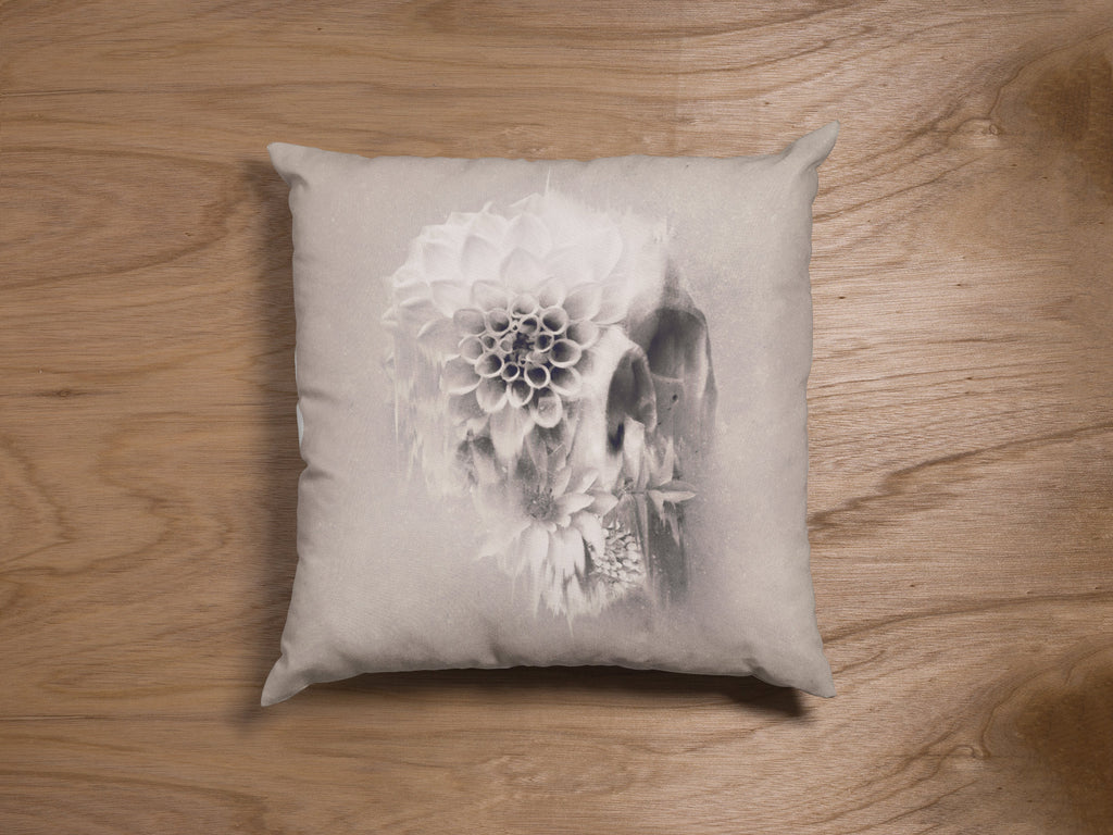 Flower Skull Throw Pillow, Floral Skull Spun Polyester Square Pillow, Gothic Sugar Skull Home Decor