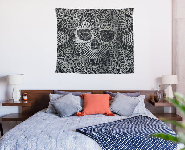 Skull Wall Tapestry, Lace Skull Wall Art Gift, Gothic Skull Home Decor Gift